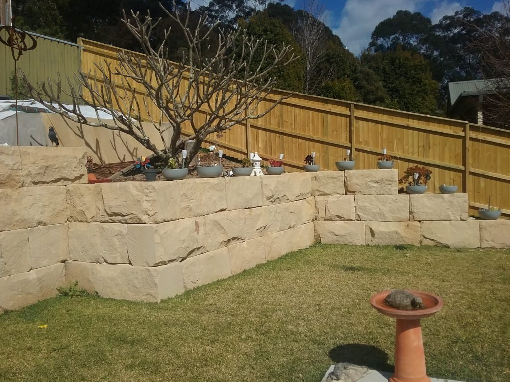 sandstone block retaining walls new castle