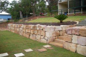 Sandstone block retaining walls in New Castle